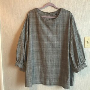 Shein Sz 2XL Belted Loose Blouse Balloon Sleeves